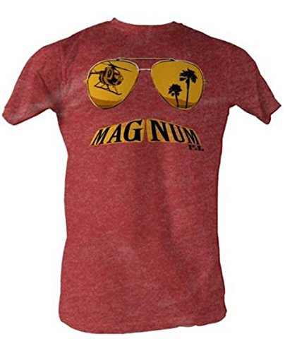 Magnum P.I. Glasses Mustache Burgundy Heather Erwachsene T-Shirt -