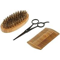 Sharplace 3 Piezas Set de Herramienta de Peluquería Cepillo de Afeitar de Barba Bigote + Peine
