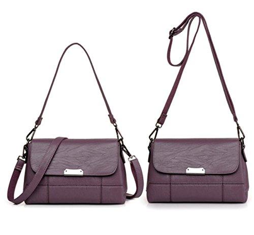 Borsa A Tracolla In Pelle Da Donna Elegante Borsa A Tracolla Moda Messenger Bag Borsa Delle Signore Retro Borsa Purple