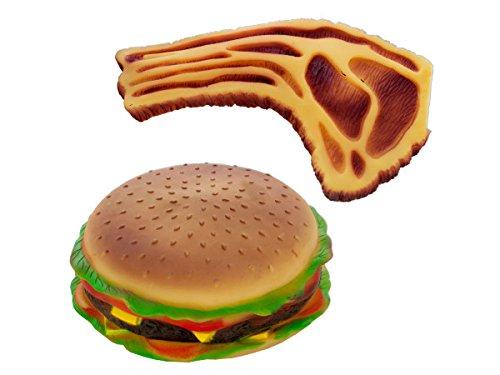 Bulk Buys Pet Play Glitschige Hamburger und Steak Hund Spielzeug 6Stück