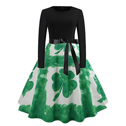 Runder Kragen Shamrock Print Spleißen Langarm Kleid Grün S, Malloom St. Patrick's Day Frauen, figurbetontes Abendkleid mit Langen Ärmeln und ()