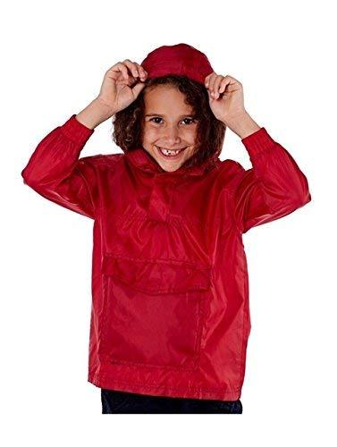 Pro Climate Kinder Jungen Mädchen Hell Regenjacke Mantel mit Kapuze Pac Auswärts Wasserabweisend Mac Sommer - Rot, 122-128