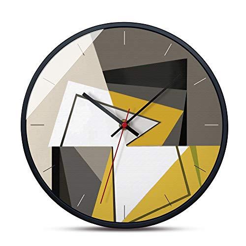 Heimtextilien Fashian Kreative Moderne Minimalistische Mosaik Farbblock Grau Gelb Haushalt Metall Wanduhr Wohnzimmer Schlafzimmer Dekoration Uhr Dekoration Stumm Nicht Ticken 30,5 * 30,5 cm - Kissen Glas-mosaik