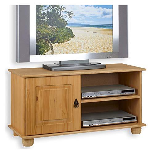 IDIMEX TV Lowboard Belfort Kiefer massiv 94 cm breit Fernsehschrank Tisch Rack Phono Möbel Bank - Holz-entertainment-schrank