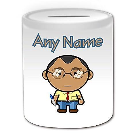 Personalisiertes Geschenk–Lehrer Stecker Spardose (Karriere Design Thema, weiß)–Jeder Name/Nachricht auf Ihr Einzigartiges–Schule Office Gläser Klasse schwarz asiatischen (Besatzung Glas)