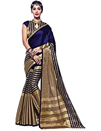 Yashraj Export Art Silk Saree With Blouse Piece(Cotton Silk Blue-Ora.11_Blue Free Size)