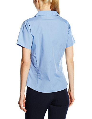 Premier Workwear Ladies Short Sleeve Poplin Blouse, Camicia Donna Blu (Mid Blu)