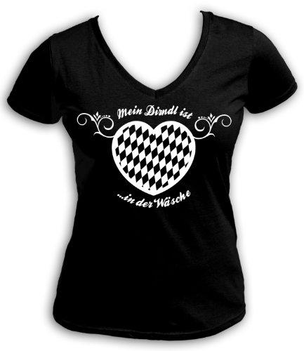 Mein artdiktat t-shirt à col en v pour fille est du linge Noir - Noir