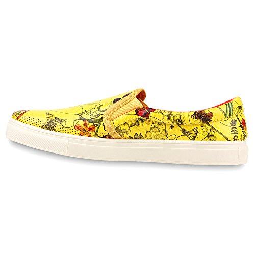 Damen Sneakers Slip-ons Prints Freizeit Schuhe Gelb