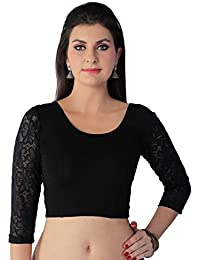 STUDIO SHRINGAAR TRENDY COTTON STRETCH LYCRA ROUND NECK READY TO WEAR SAREE BLOUSE WITH 3/4TH LACE SLEEVES