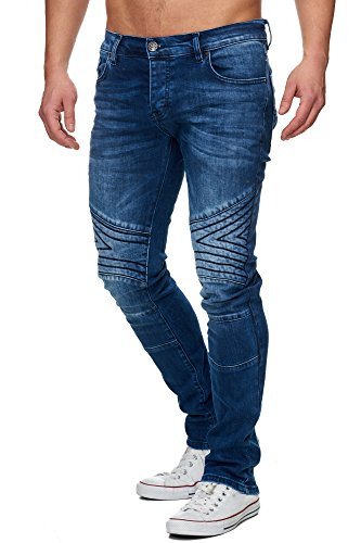TAZZIO Slim Fit Herren biker Look Stretch Jeans Hose Denim 16526 Blau 32/32