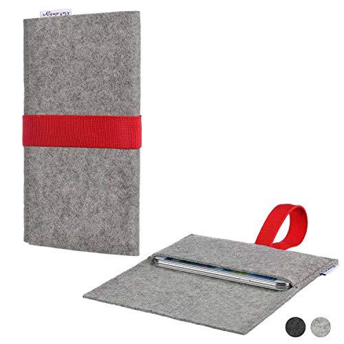 flat.design Handy Hülle Aveiro für Energizer P20 maßgeschneiderte Handytasche Filz Tasche Sleeve Pouch Grau rot