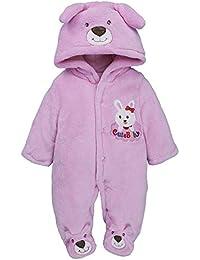 e983bb8387c Infant Boy Girl Hoodie Jumpsuit Romper Clothes Newborn Cute Bear Embroidery  Thicker Warm Hooded Sleepwear Fleece