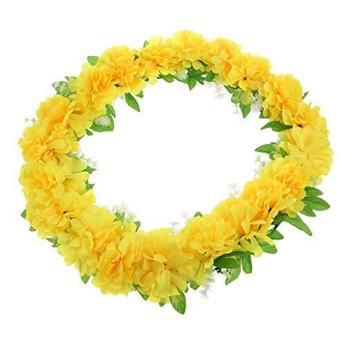 D DOLITY Seiden Chrysantheme Blumen Kranz Kunstblumen Grabblumen als Grabschmuck Grabgesteck und Grabdekoration - Gelb (Grab Blumen Kranz)