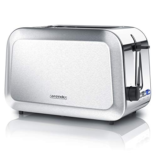 Arendo - Toaster in Edelstahl gebürstet | 2 Scheiben | Stufenloser Bräunungsgrad (1-7) | 750 W |...