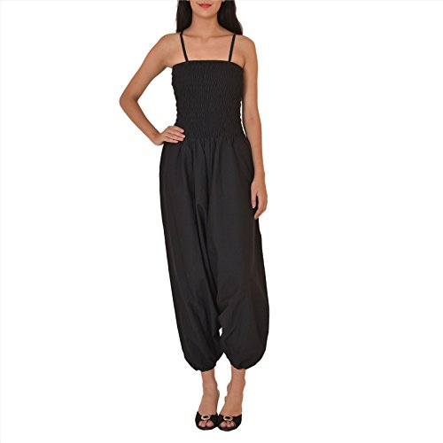 Skirts & Scarves Cotton Jump Suit/ Harem Pant for Women (Black)
