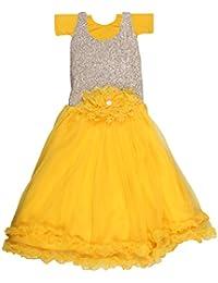 POPCORN Girls' A-Line Dress (Yellow, 5-6 Years)