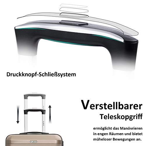 Flieks Reisekoffer Kofferset Hartschale 4 Zwillingsrollen Trolleys Gepäck Koffer 3tlg. (Champagner, L) - 6