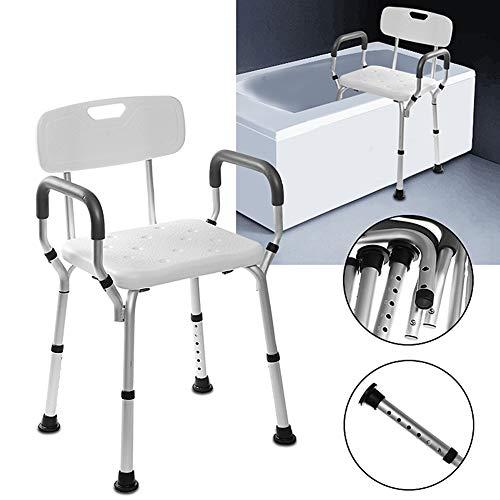 Duschstuhl Mit Armlehnen Und Höhenverstellbarer Rückenlehne Medical Bath Tool Rutschfester Und Rutschfester Badewannensitz Für Behinderte, Senioren Und ältere Menschen 150KG