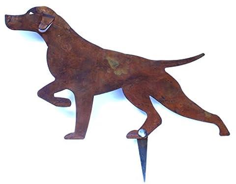 Otter - Décoration pour jardin ou pelouse en forme de silhouette de chien Setter en arrêt,en acier Corten couleur rouille - Produit artisanal