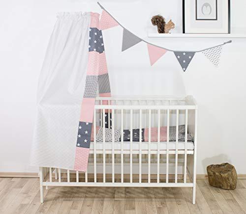 BEBILINO ® Wimpelkette Rosa Grau (Stoff-Girlande: 1,9 m Länge, 5 Wimpel, farbenfrohe Deko für Kinderzimmer & Baby Geburtstage, Motiv: Sterne) - 3