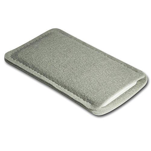 Filz Style Apple Iphone 7 Premium Filz Handy Tasche Hülle Etui passgenau für Apple Iphone 7 - Farbe schwarz grau