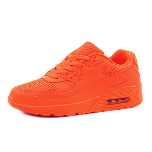 Trendige Unisex Damen Herren Laufschuhe Schnür Sneaker Sport Fitness Turnschuhe Orange 36