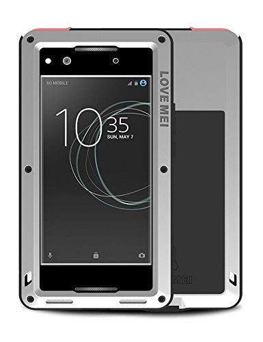 Ganzkörper Hülle für Sony Xperia XA1 Ultra, Love MEI 6-Zoll Mächtig Leistungsstarke Schwerlast Hybride Aluminium Metall Rüstung Stoßfest Schmutzabweisend Staubdicht Case mit Hartglas (Silber)