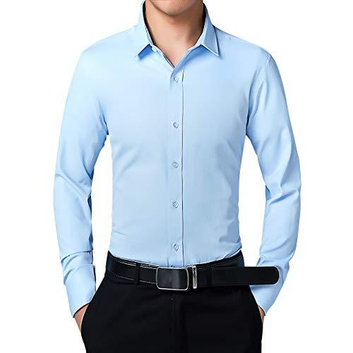 Splrit-MAN Herren Slim Fit Business Hemd Shirt für Freizeit Business Hochzeit Reine Farbe Hemd Langarm Herren-Hemd - Nike Dri-fit-golf Langarm