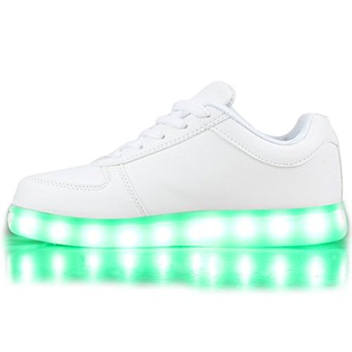 [Present:kleines Handtuch]JUNGLEST Blinkende Damen Sneakers High Led Light Far Weiß