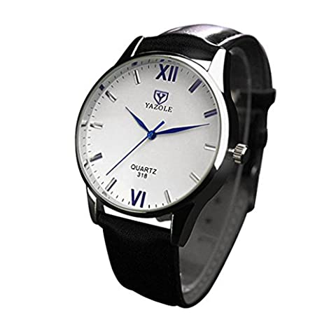 LHWY Luxury Fashion Leather Mens Glass Quartz Analog Wristwatch Noctilucent Watches (black)