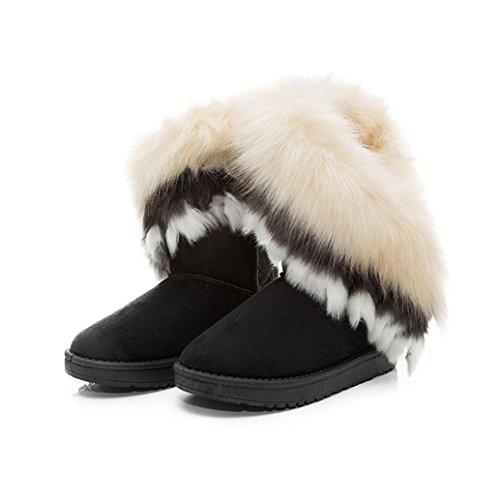 Amlaiworld Donna Cotone Caviglia Snow Boots Per Inverno Indoor & Outdoor Nero