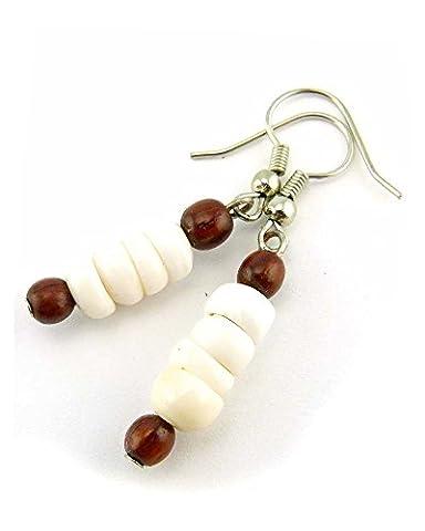 Ladies/Girls Hawaiian Koa Wood and Puka Shell Surf Earrings for Pierced Ears