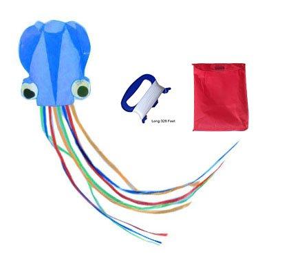Mayco bell polipo portatile aquilone nylon e poliestere materiale-giocattolo perfetto per i bambini e per bambini giochi all'aperto attività pieghevole di grandi dimensioni 72 x 400 cm | extra 100 metri di linea (blu)