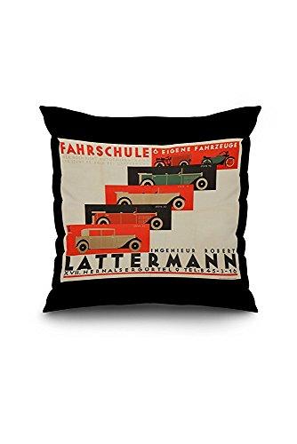 Lattermann Fahrschule Vintage Poster (artist: Franke) Austria c. 1930 (18x18 Spun Polyester Pillow Case, Black Border)