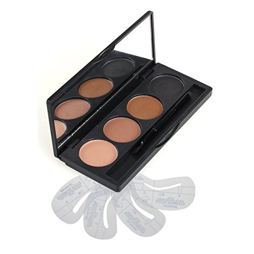 VONISA Poudre à Sourcils Palette Eyebrow Ombre 4 Couleurs avec Brosse Maquillage et 4 Pochoirs Brow Tamer Gel Sourcils Beauté Cosmétique Modelage et Coloration Sourcil Sculptant Kit