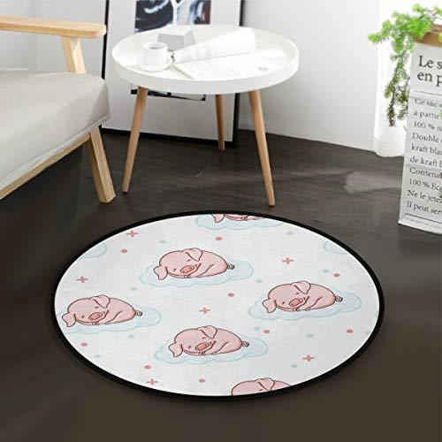 Aminka niedliche Schweinchen schlafende Wolken Kinder Runde Teppich Baby Krabbeldecke Anti-Rutsch-Matten Kinder Aktivität Spielmatte für Schlafzimmer Spielzimmer Home Decor (Durchmesser 91,4 cm) -