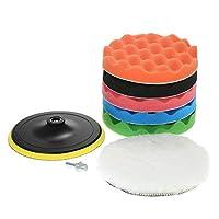 "Ajcoflt 7PCS Brand New 5"" 125mm/7"" 180mm Car Polishing Pads Waxing Buffing Pad Sponge Kit Set for Car Polisher Buffer Waxer Sander Polishing Waxing Sealing Glaze (5 inch)"