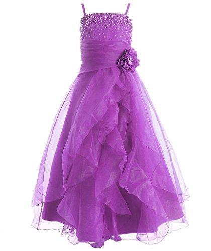 FAIRY COUPLE Mädchens Cascading Kristall Organza Strass Party Blumenmädchen Ballkleid K0136 14 Violett (Kinder Für Fairy Kleider)