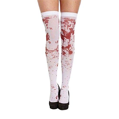 Monbedos 1PCS Halloween Mädchen Knie Hohe Socken Blood Bedruckt über Dem Knie Oberschenkel Hohe Socken Festival Zubehör für Mädchen.