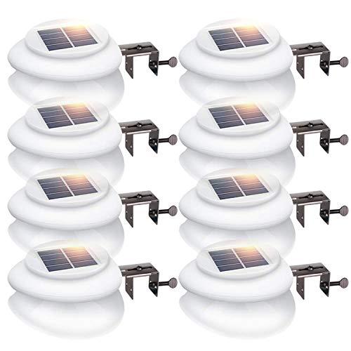 UniqueFire 9LED Weiße Solarleuchten Wasserdicht Dachrinne Lampe Kaltweiße Licht Für Hof, Terrasse, Garten im Freien, Familie, Auffahrt, Treppen (8STK) - Familie Licht Im Freien Wand