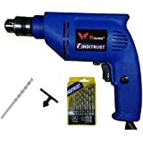 Inditrust 450W Reversible Drill Machine With Left Right Rotation And Variable Speed Trigger 1 Masonry Bit And 13 Pieces Hss Drill-Set, 10Mm, 450W