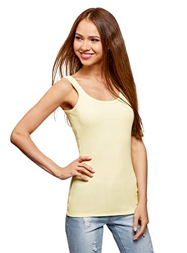 oodji Ultra Mujer Camiseta de Tirantes Básica, Verde, ES 40 / M