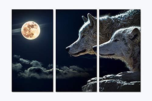 Comfot 3 Runde Mond Schnee Wolf Thema Rahmenlose Leinwand Wandmalerei Dekoration Schlafzimmer Wohnzimmer Dekorative Malerei,001 (Thema, Schnee, Dekorationen)