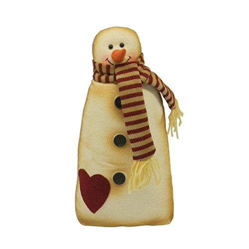 CVHOMEDECO. Rústico Vintage de pie de peluche muñeco de nieve muñeca figura decorativa Primitivos de peluche de juguete de Navidad adorno hogar chimenea de mesa estante decoración regalo, H35,6cm
