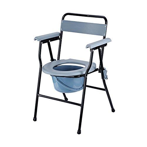 Homocom - Sedia WC Pieghevole con Vaso Rimovibile per Anziani e Disabili in Tubi di Ferro e Plastica 52 x 50 x 75cm