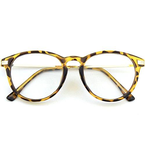 CN92 Klassische Nerdbrille rund Keyhole 40er 50er Jahre Pantobrille Vintage Look clear lens, 47, B Mehrfarbig B