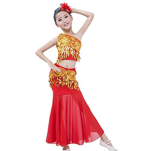 Yiliankeji Tanzsport Bekleidung Mädchen Röcke Bauchtanz - Belly Moderner Dance Costumes Tanzkleidung Tanzkostüme Fasching Kostüme Darbietungen Kleidung ()