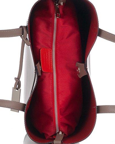 Laura Moretti - Ledertulpe geformte Totes Tasche Taupe