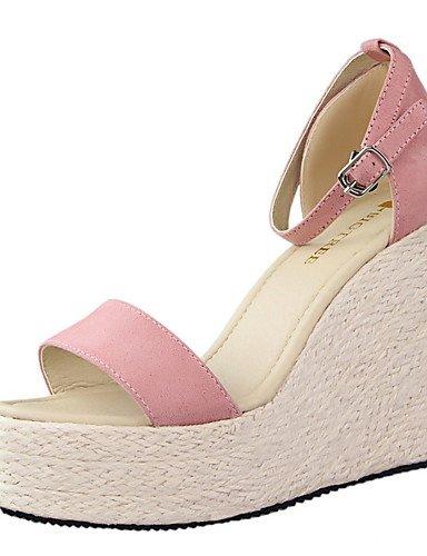 WSS 2016 Chaussures Femme-Habillé-Noir / Rose / Blanc / Argent / Gris / Or-Talon Compensé-Compensées / Bout Arrondi / Bout Ouvert-Talons-Daim / white-us5.5 / eu36 / uk3.5 / cn35